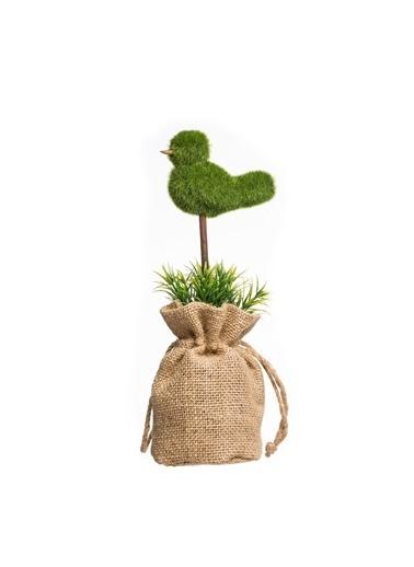 Warm Design Kalp Ve Kuş Figürlü Yapay Sukulent Yeşil
